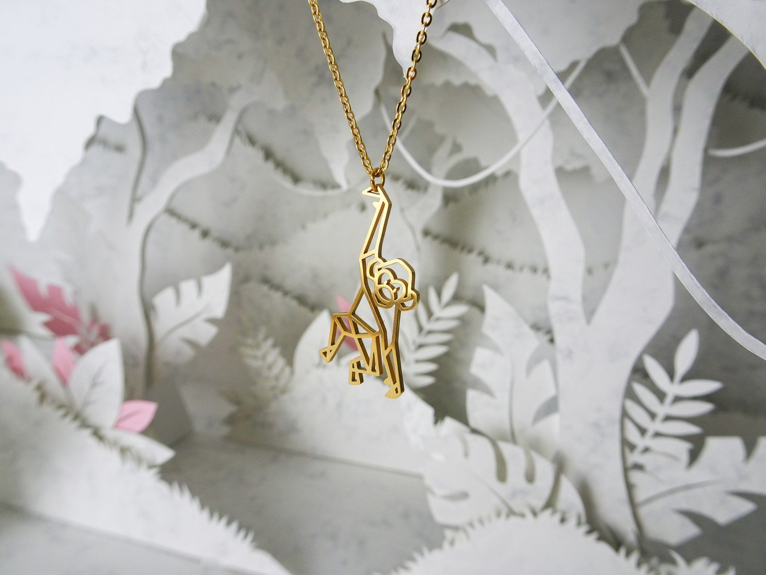 Monkey Gold Origami Animal Necklace