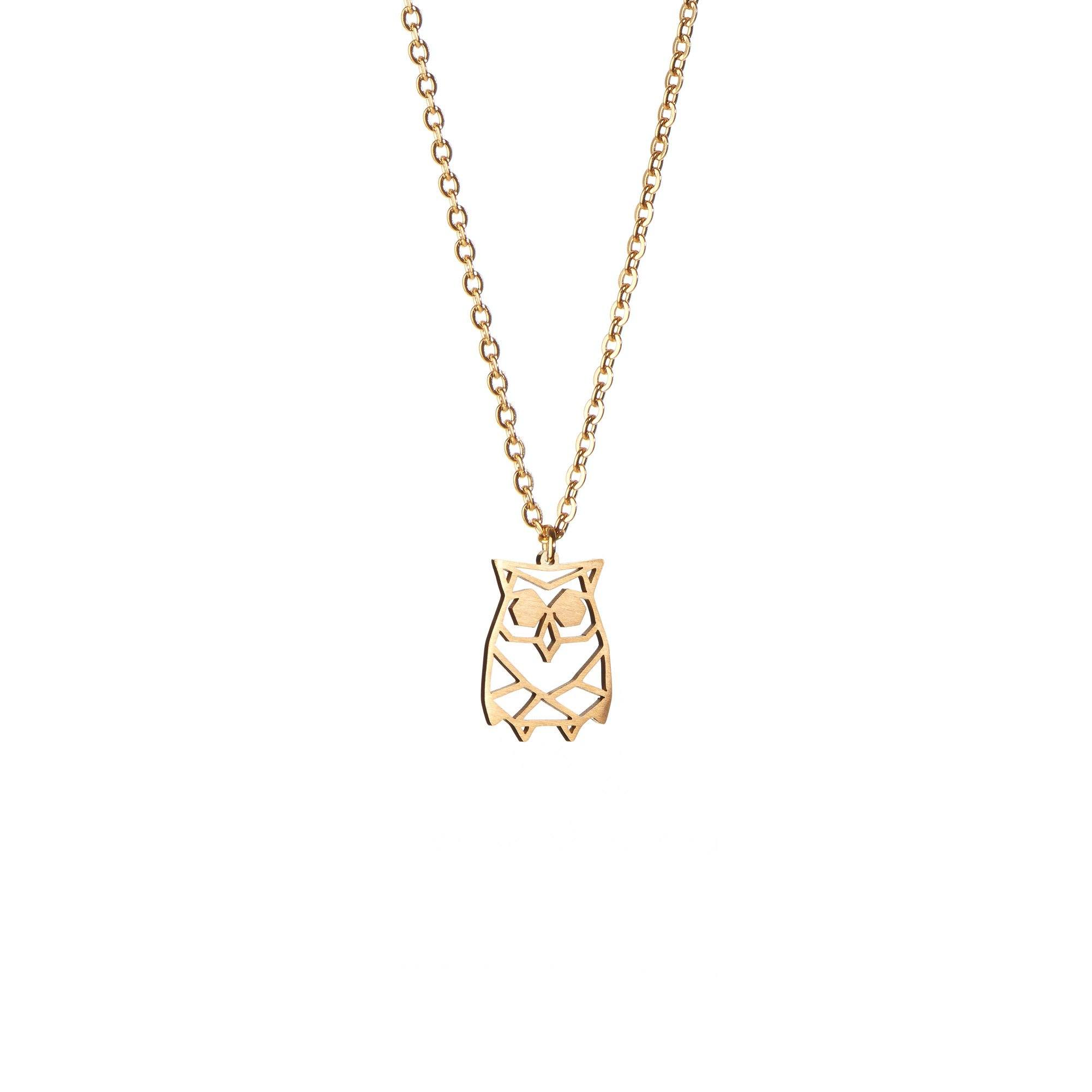 Owl Gold Origami Geometric Necklace