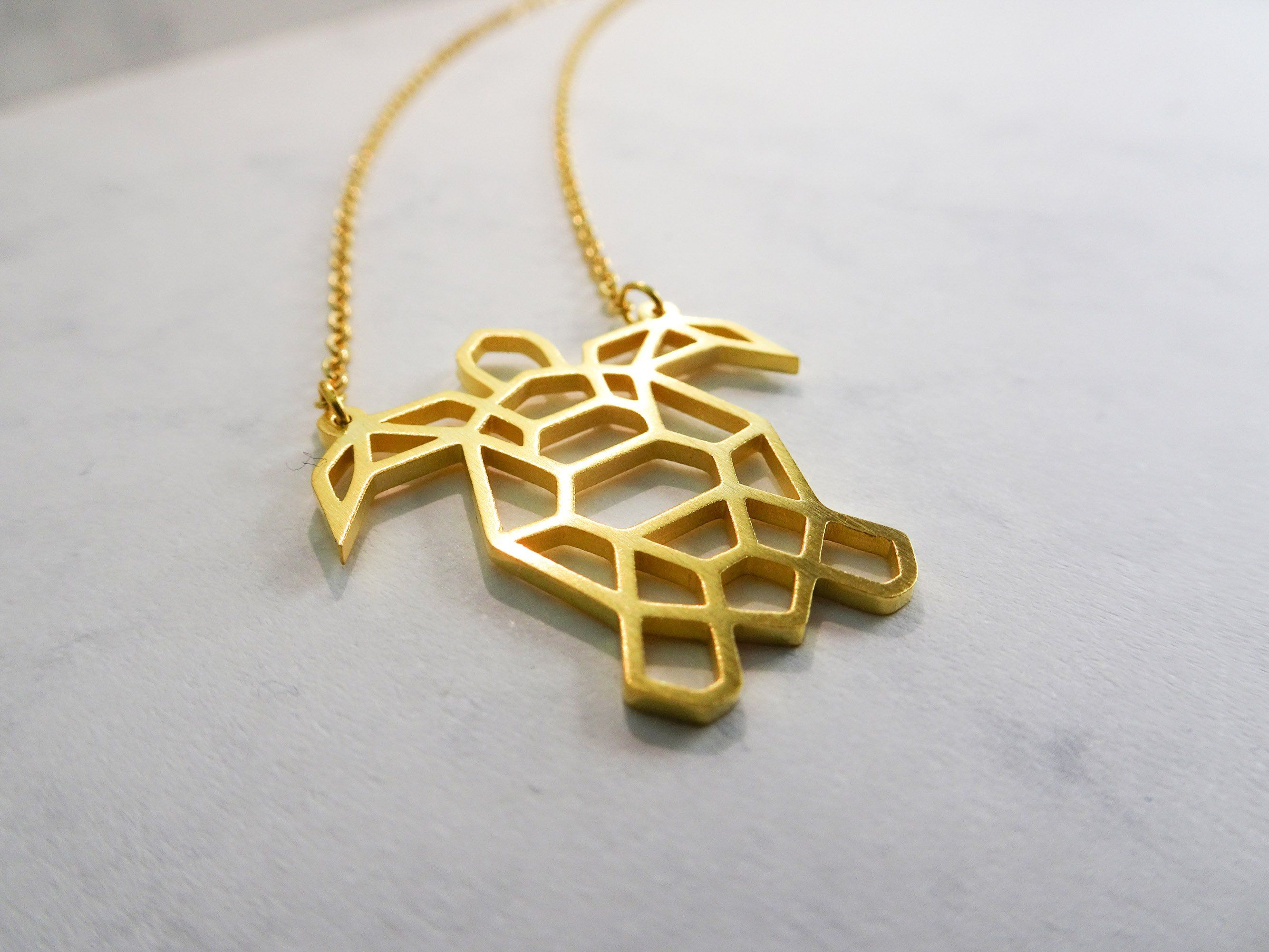 Turtle Gold Origami Geometric Necklace