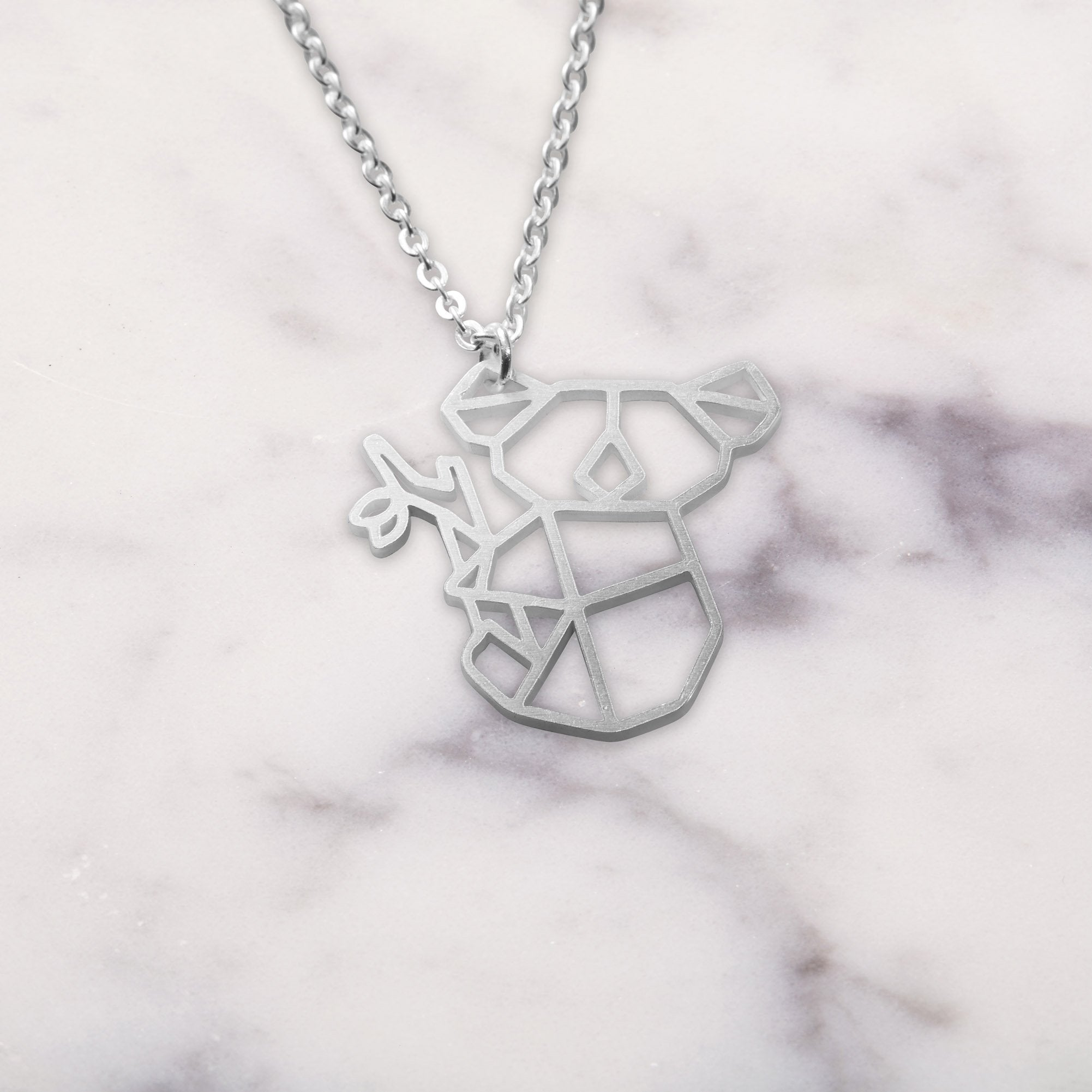 Koala Silver Origami Geometric Necklace