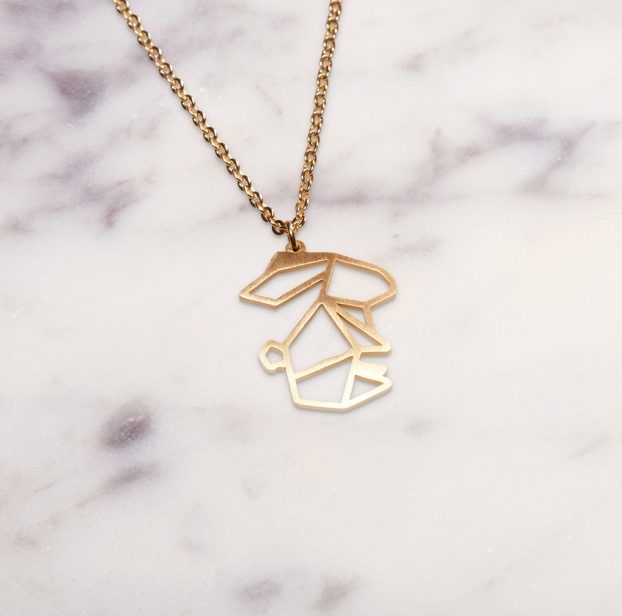 Rabbit Gold Origami Geometric Necklace