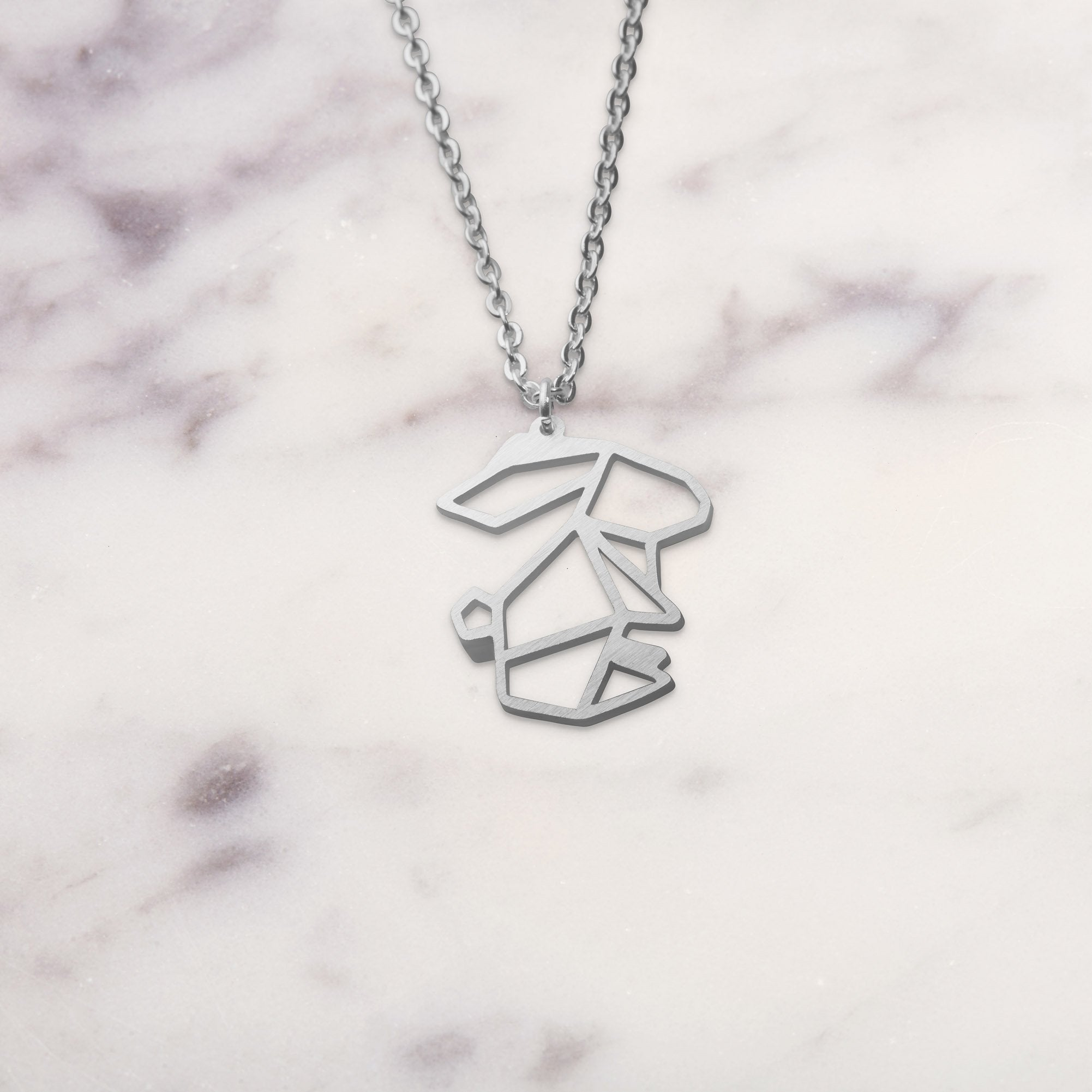 Rabbit Silver Origami Geometric Necklace