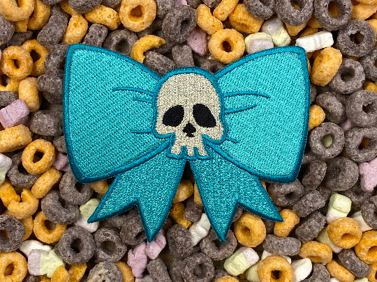 Skull Bow Iron-On Patch