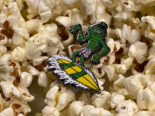 Surfing Creature From the Black Lagoon Hard Enamel Pin