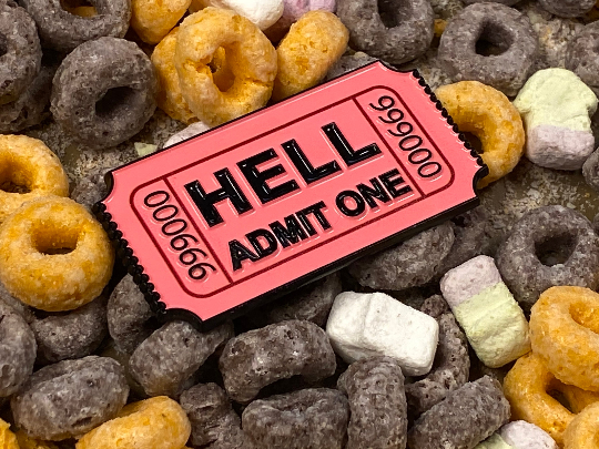 Actual Size Redemption / Raffle Prize Ticket to Hell Satan 666 Admit One Soft Enamel Pin