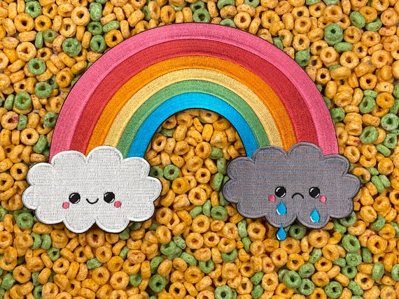 Giant LGBTQ+ Pride Rainbow Happy / Sad Rain Cloud Iron-On Back Patch
