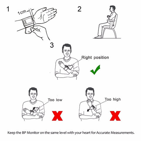 instructions on how to use the portable wrist blood pressure monitor device