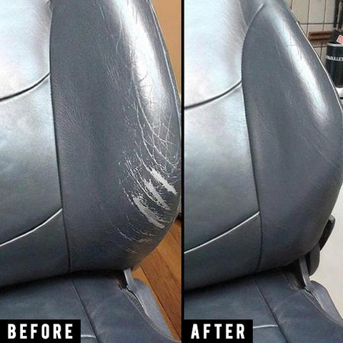 before and after using leather car seat repair solution