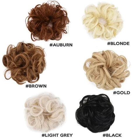 different colors messy buns