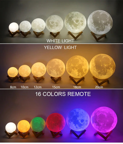 3d moon lamp many colors and sizes