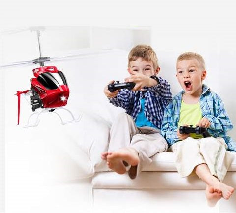kids playing with remote controlled helicopter