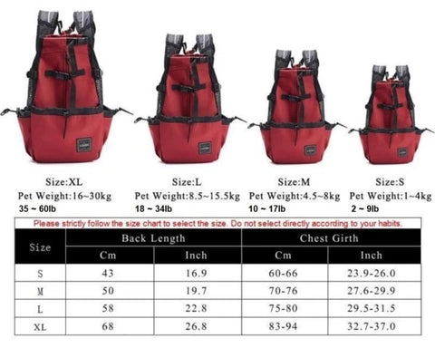 dog carrier backpack size chart