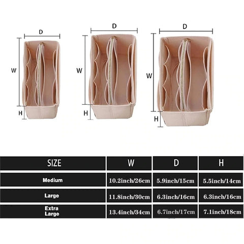 size chart for purse organizers