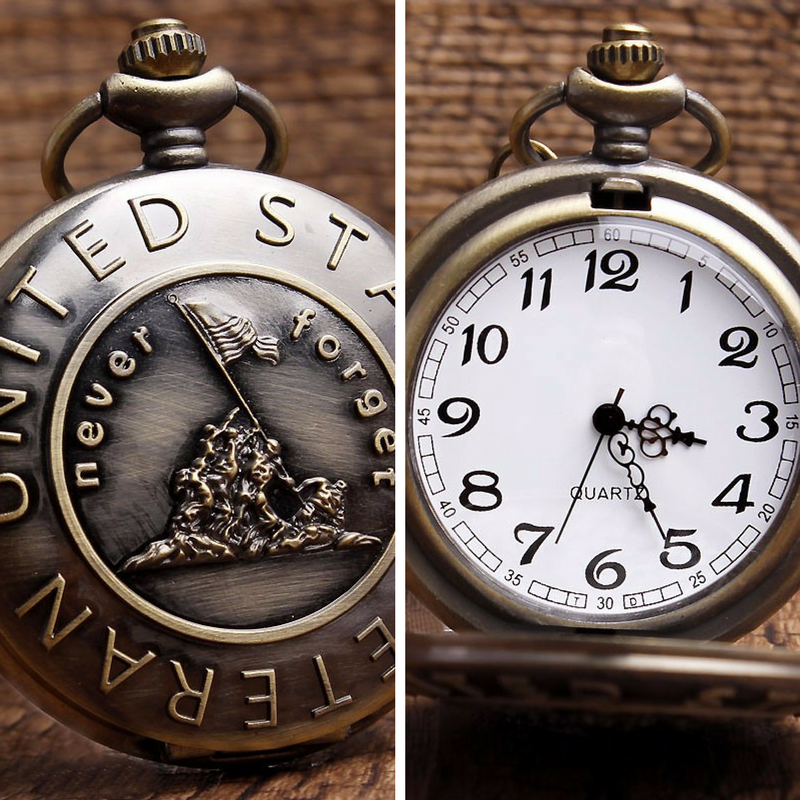 United States Veteran Bronze Pocket Watch