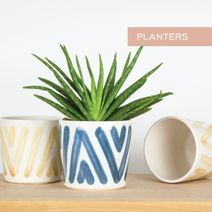 Modern ceramic succulent and cactus planters by Barombi Studios