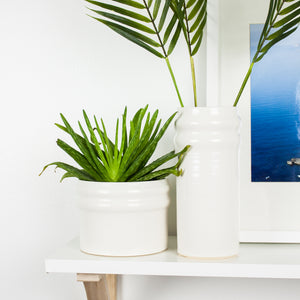 handmade modern white ceramic planter and vase