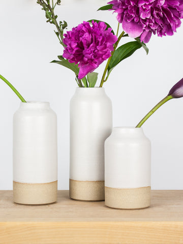 White Bottle Vase Set