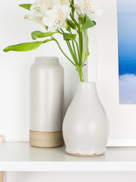White Drop Bud Vase