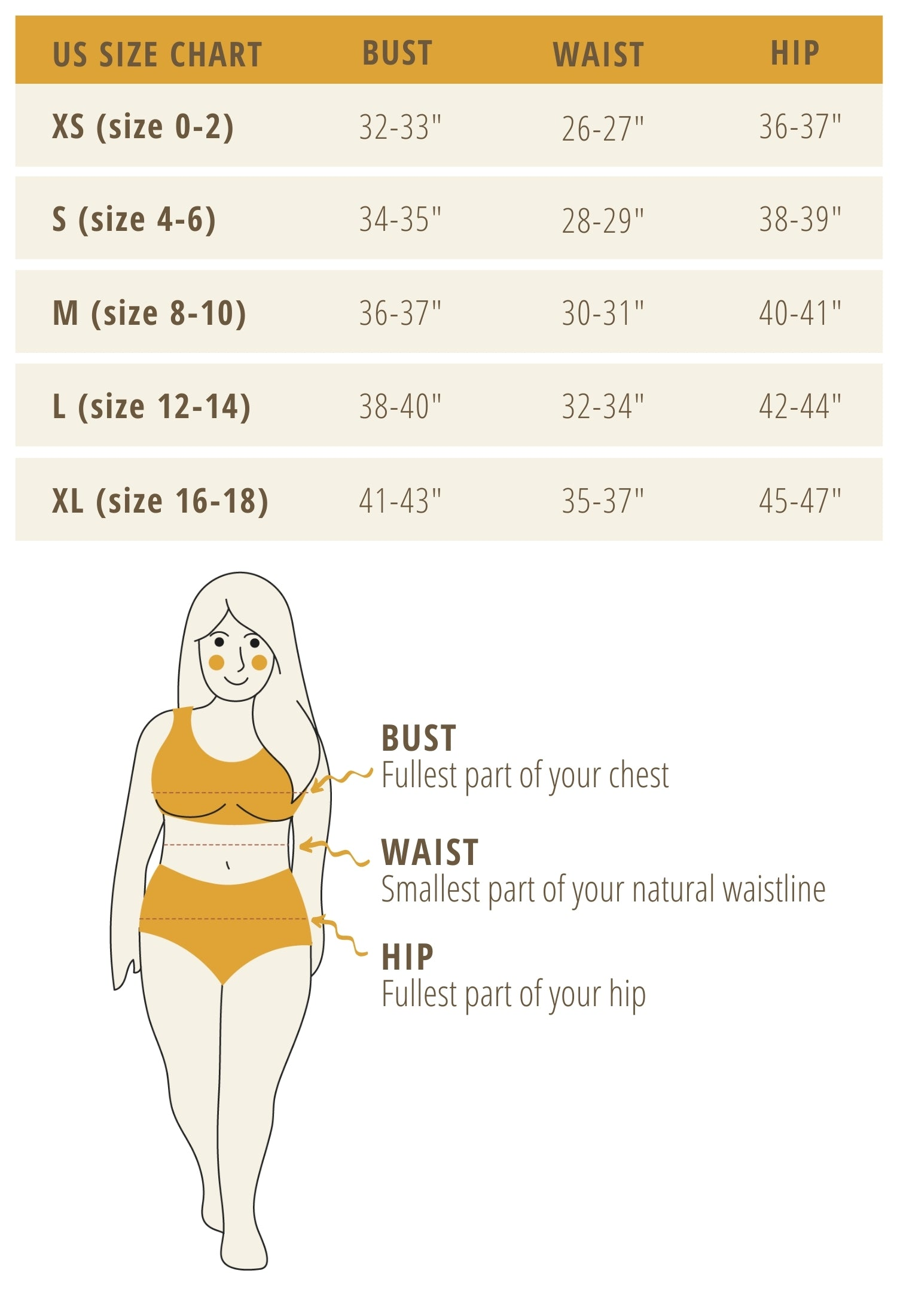 Rover & Kin Clothing Size Chart