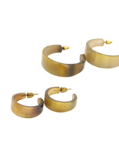 Flat Horn Round Hoop Earrings