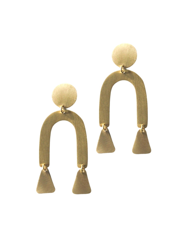 Brass Modern Shapes Earrings Gold