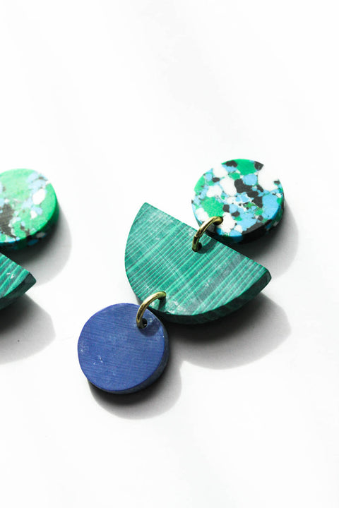 Geo Clay Earrings in Rainforest