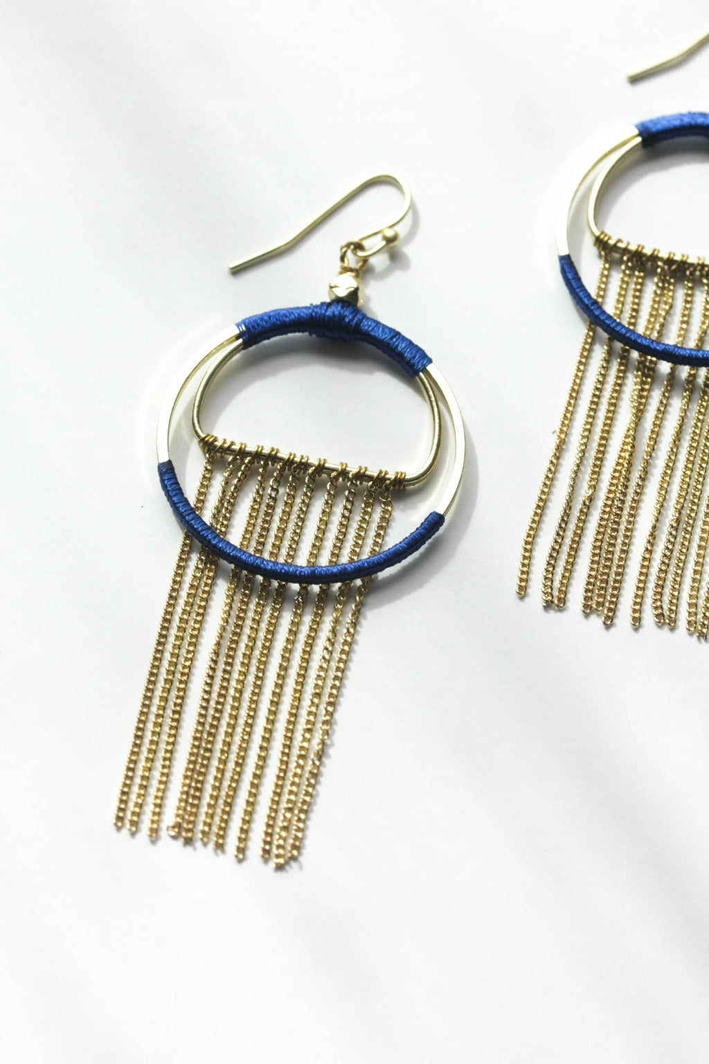 Silk Wrapped Fringe Earrings