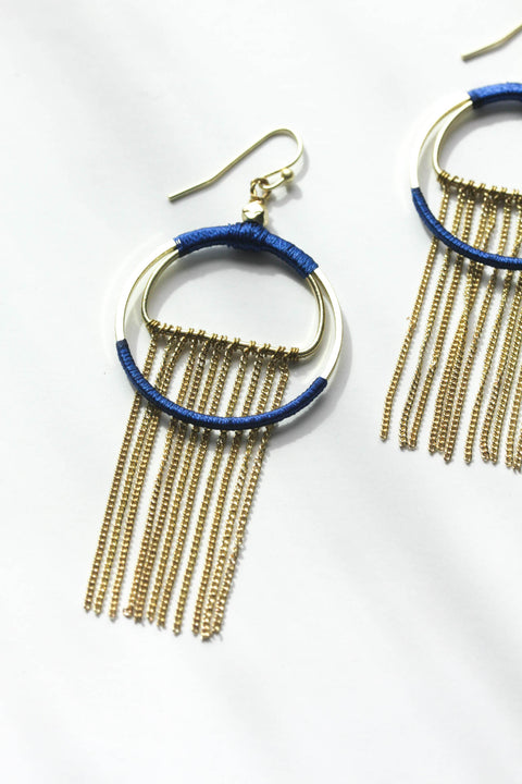 Silk Wrapped Fringe Earrings Pink & Blue