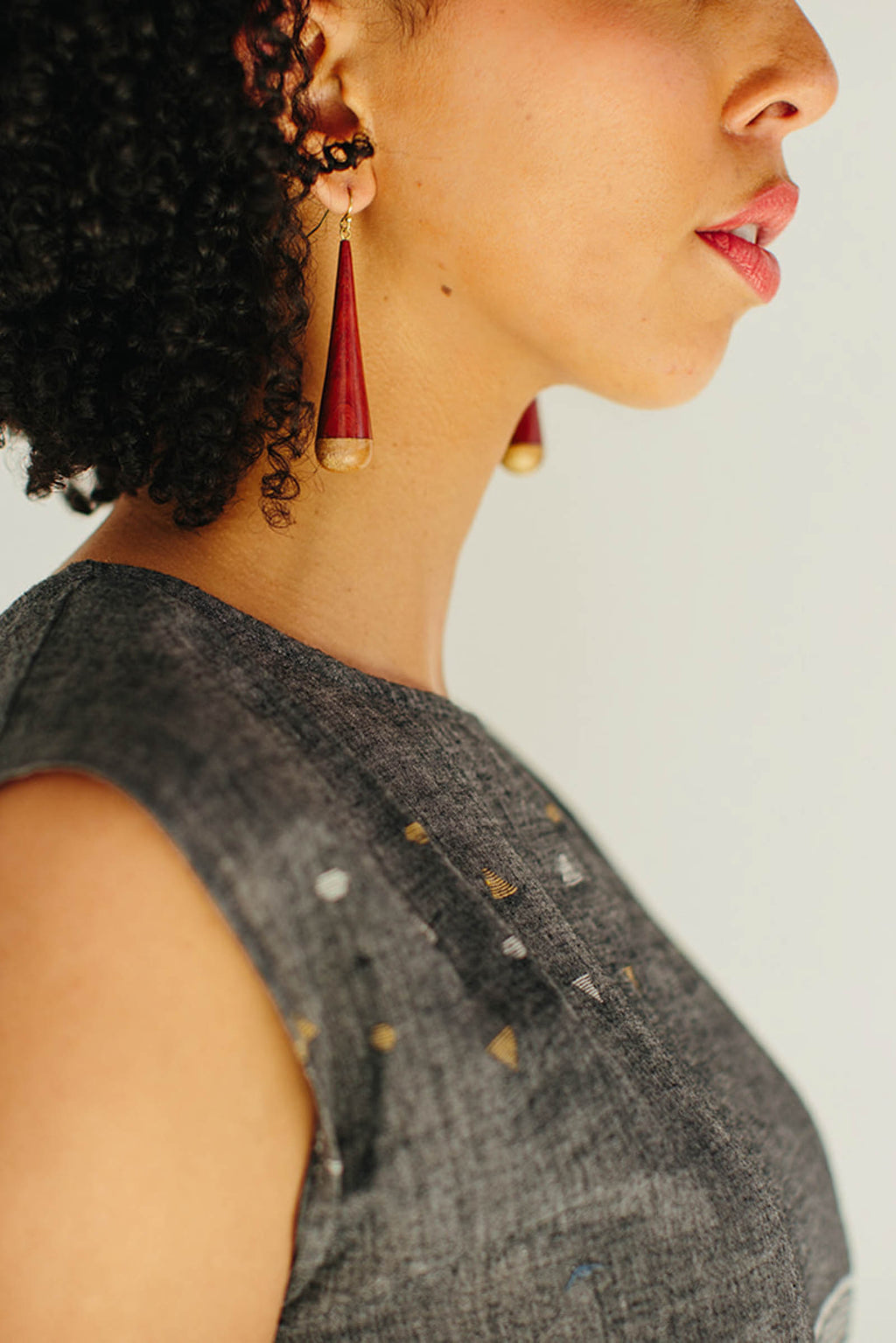 Wood Cone Earrings