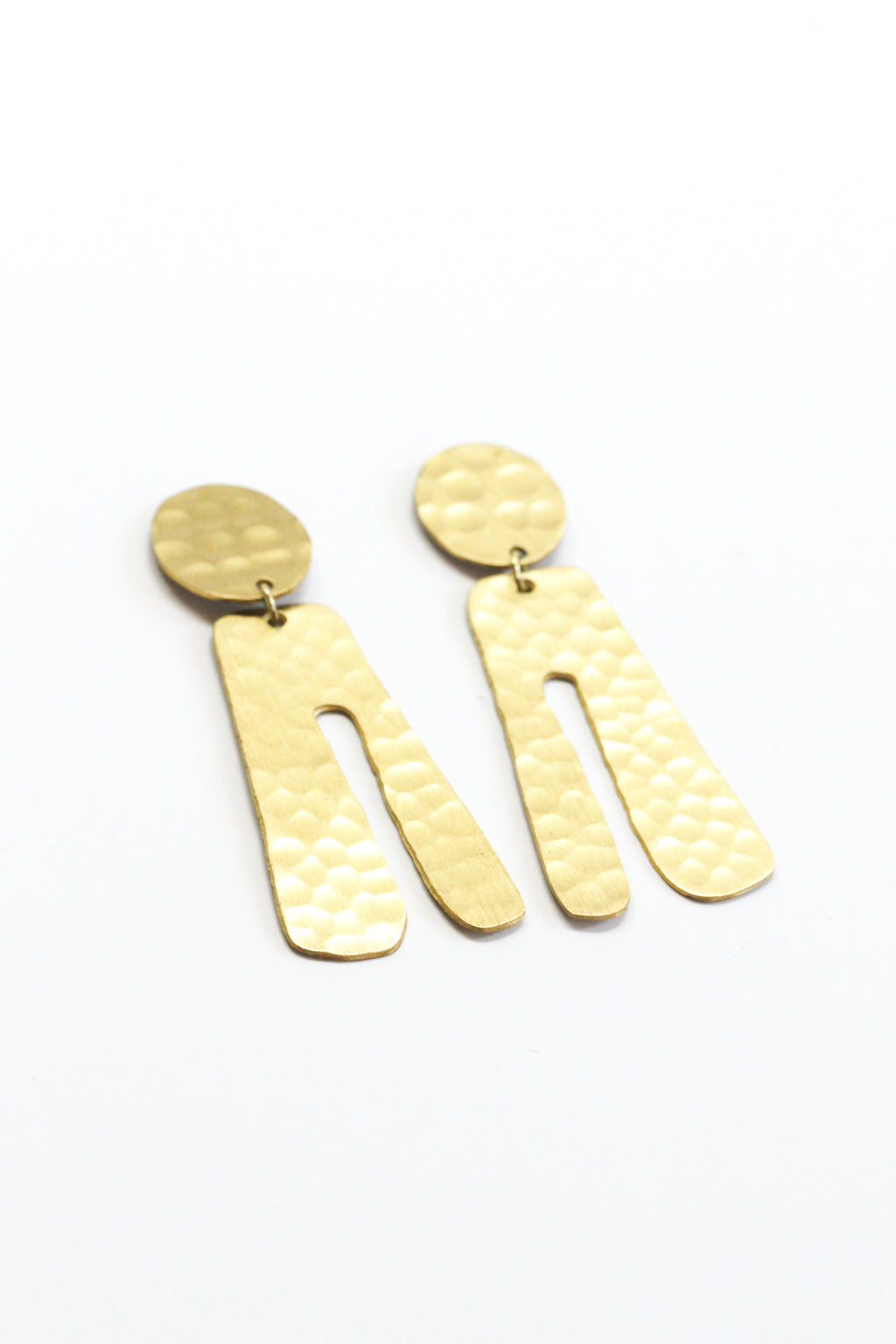 Hammered Parabola Earrings - Gold