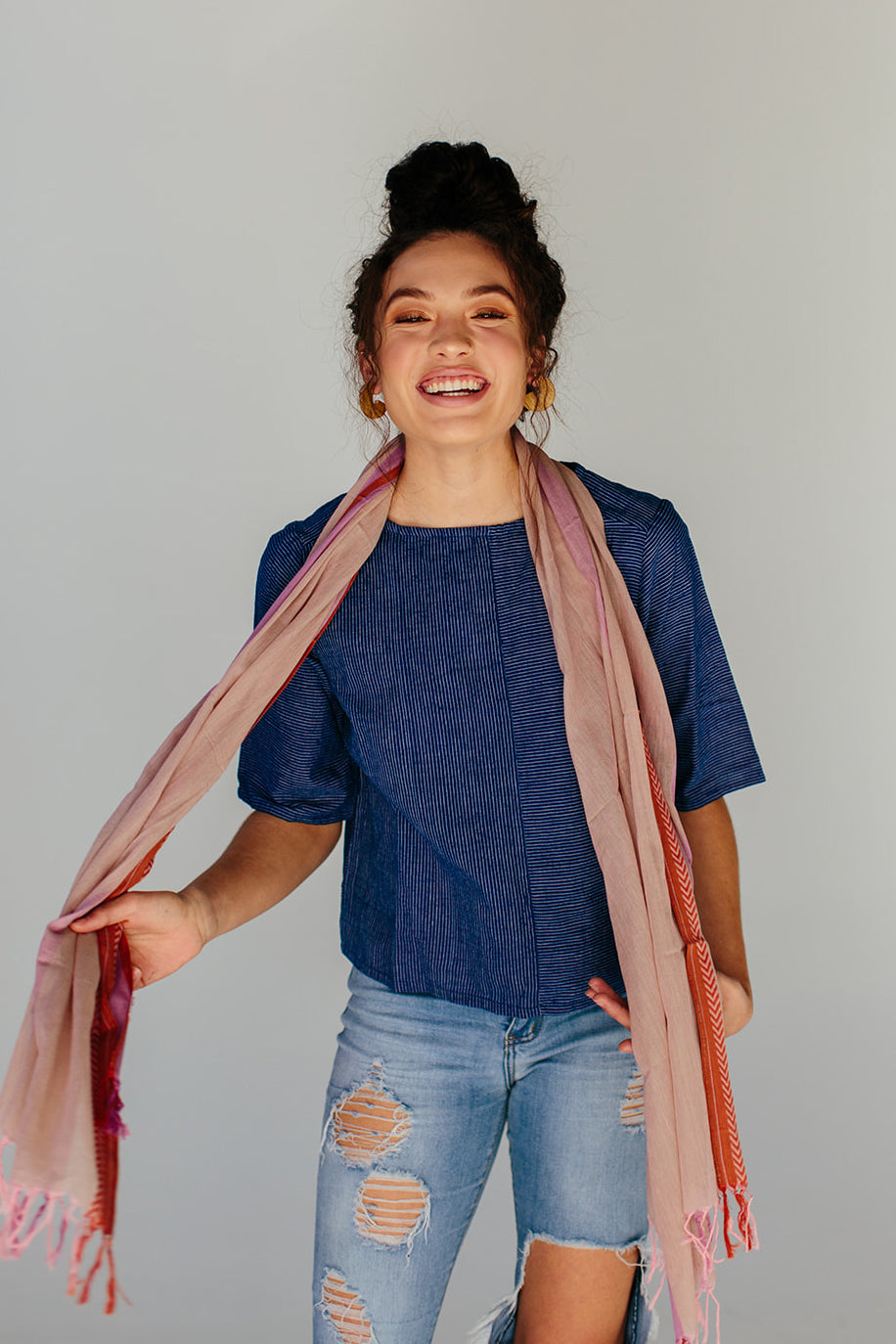 Chevron Border Scarf - Shifting Sands