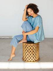 Silk Handloom Caftan in Air Blue
