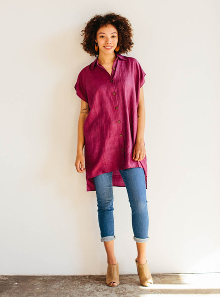 Handloom Silk Button Dress in Merlot