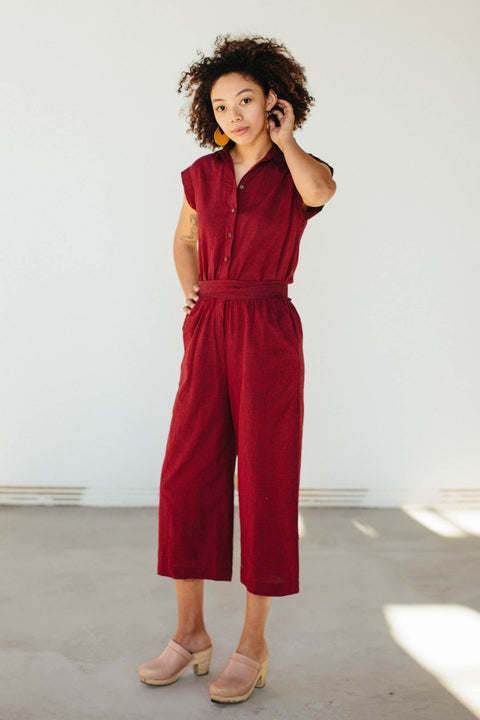 Handloom Jumpsuit in Ruby