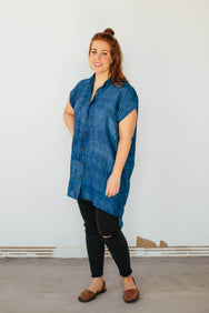 Handloom Silk Button Dress in Natural Indigo