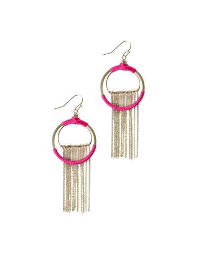 Silk Wrapped Pink Earrings