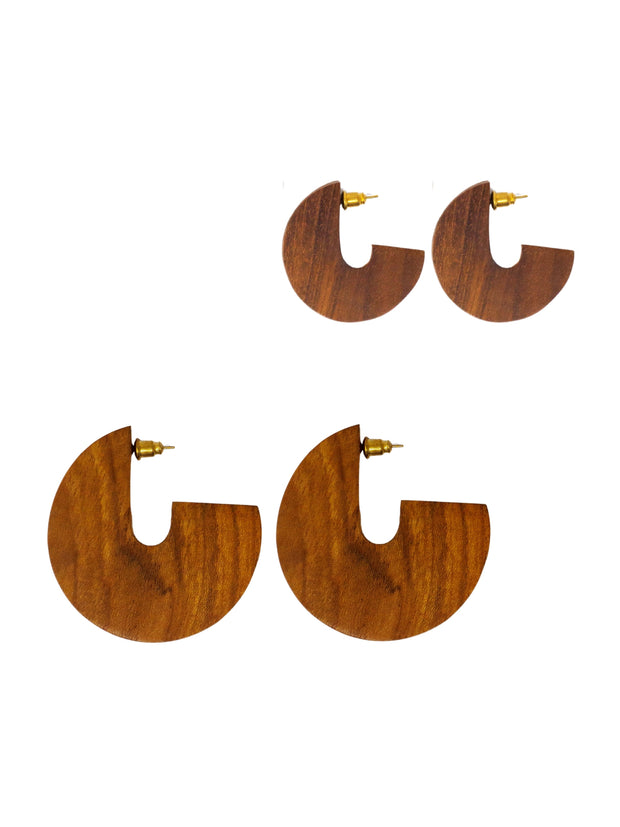 Teak Wood Disc Earrings