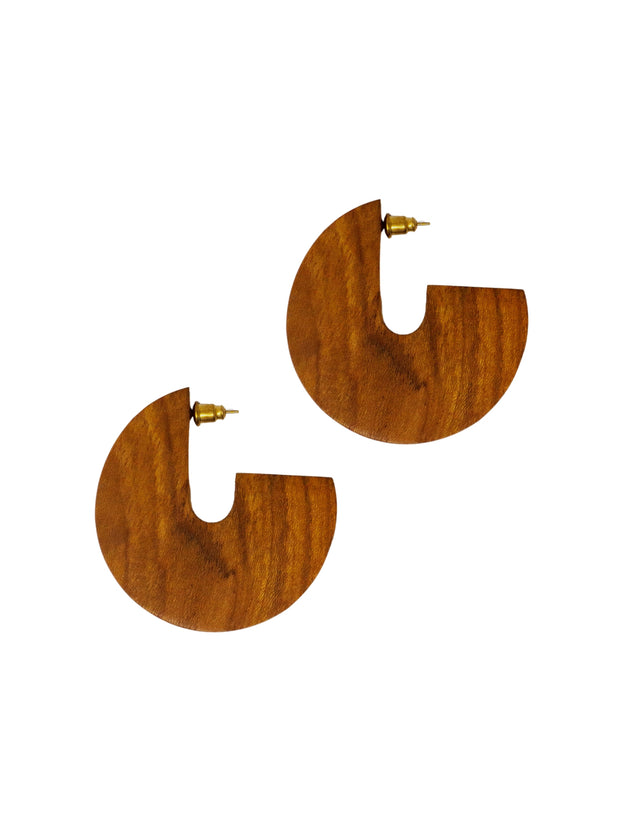Wood Disc Earrings - Teak Wood