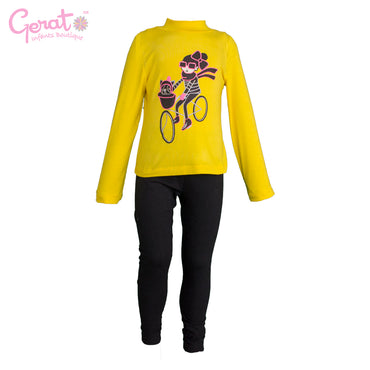 Conjunto blusa, chaleco y leggings color amarillo y gris