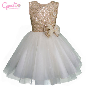 Vestido de Fiesta Junior color Dorado con Blanco