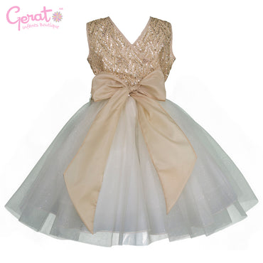 Vestido Gerat de Fiesta Junior color Dorado con Blanco