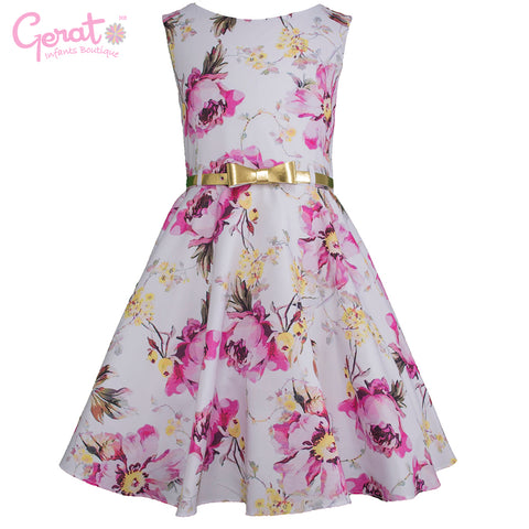 Vestido Gerat de Fiesta Junior color Blanco con Rosa