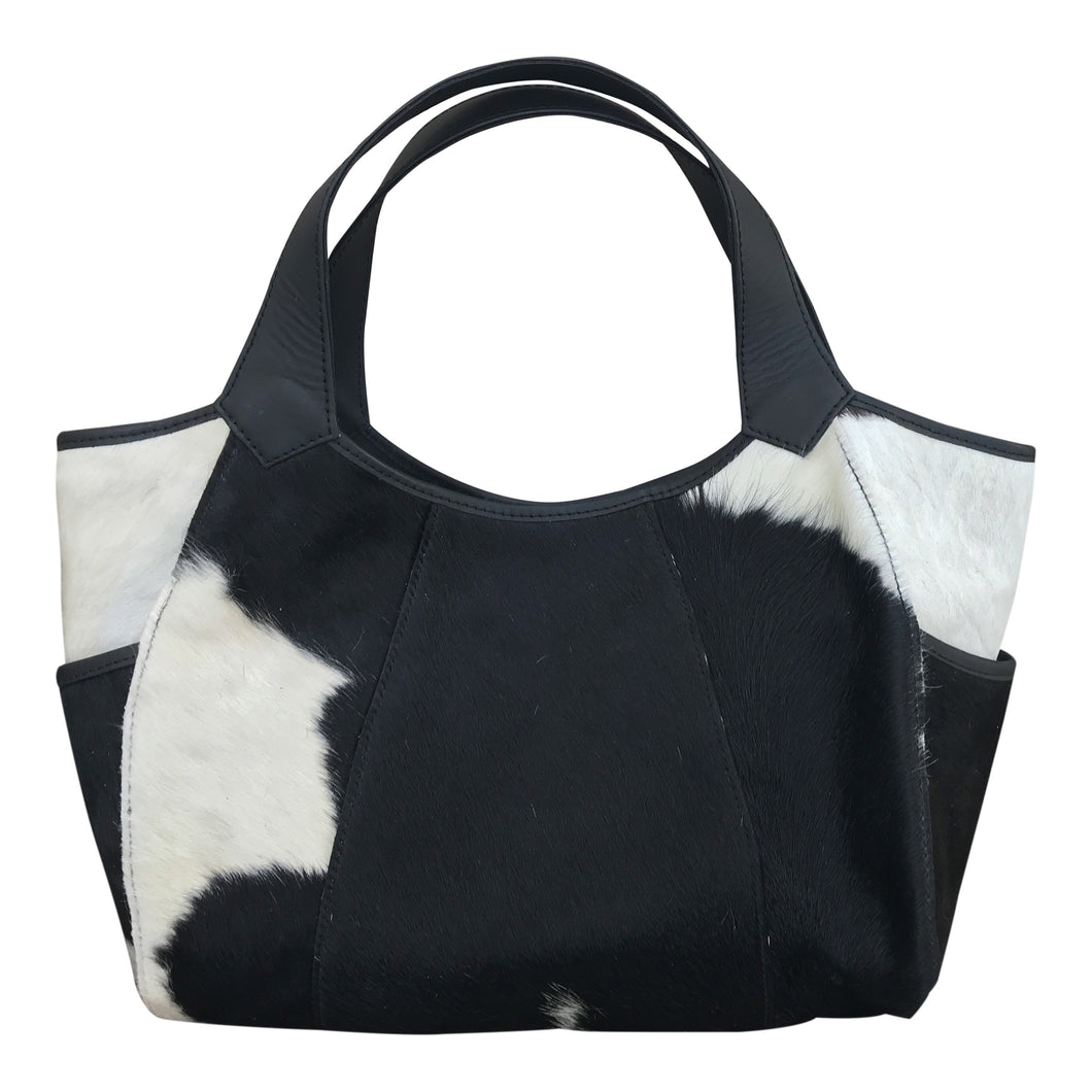 Michelle Black & White Calf Hair Bag