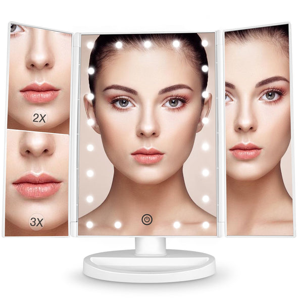 LED Makeup Mirror - Touch Screen 180° Adjustable Rotation
