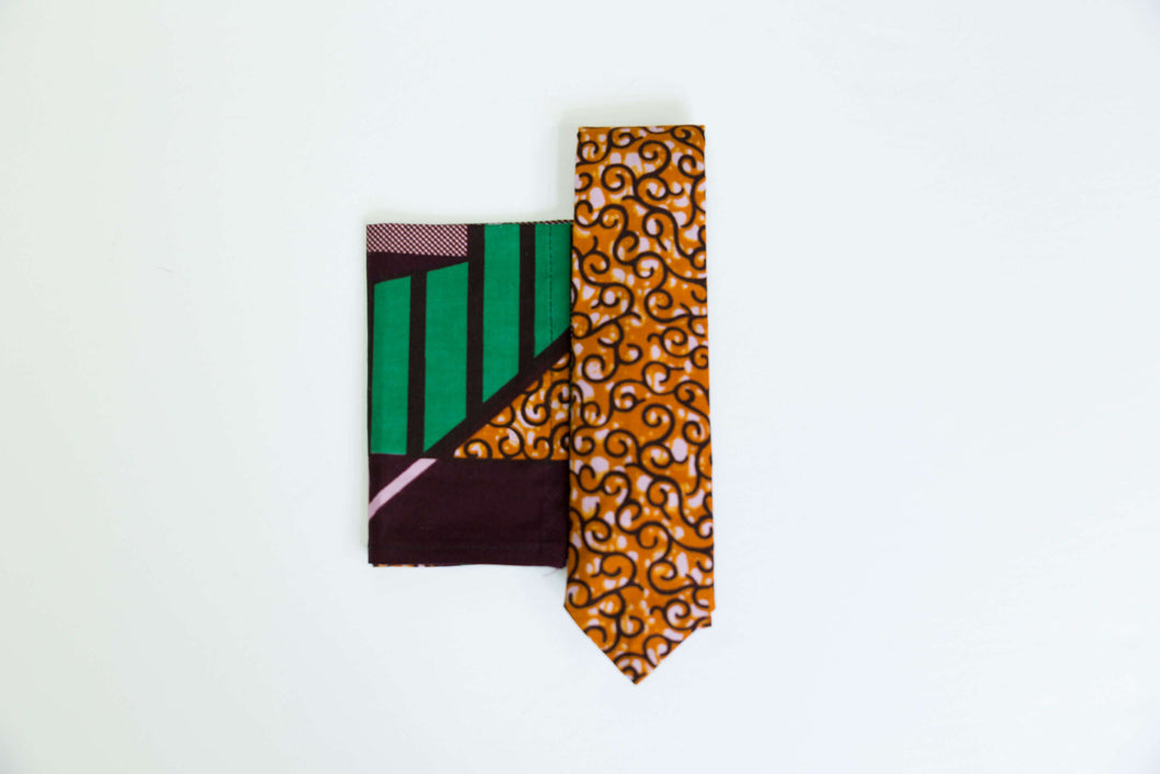 African Wax Print Tie and Pocket Square Set