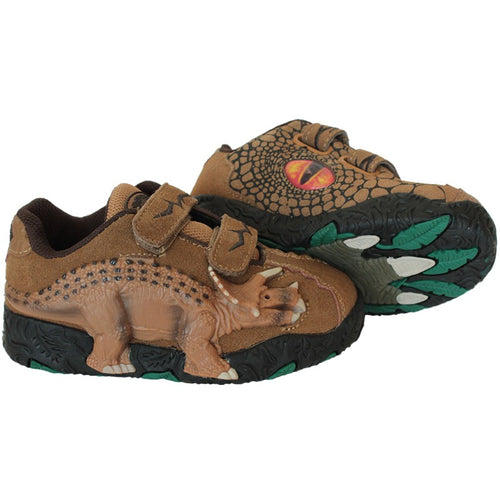 Dinosoles Brown 3D Triceratops Low Top Shoes Blinking Lighted Eyes And Dino Footprints (CLEARANCE)