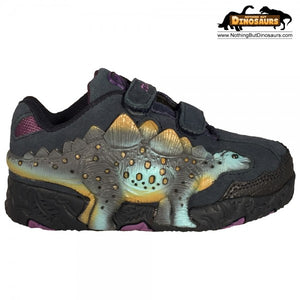 Dinosoles Bule 3D Stegosaurus Low Top Shoes Blinking Lighted Eyes And Dino Footprints (CLEARANCE)
