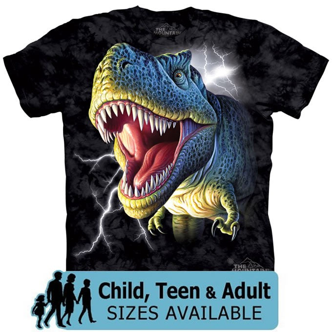 The Mountain Lightning T-Rex Dinosaur Shirt For Kids, Boys, Girls, Adults, Men, Women