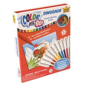 Wild Republic Dinosaur Color And Go Travel Coloring Book With Markers