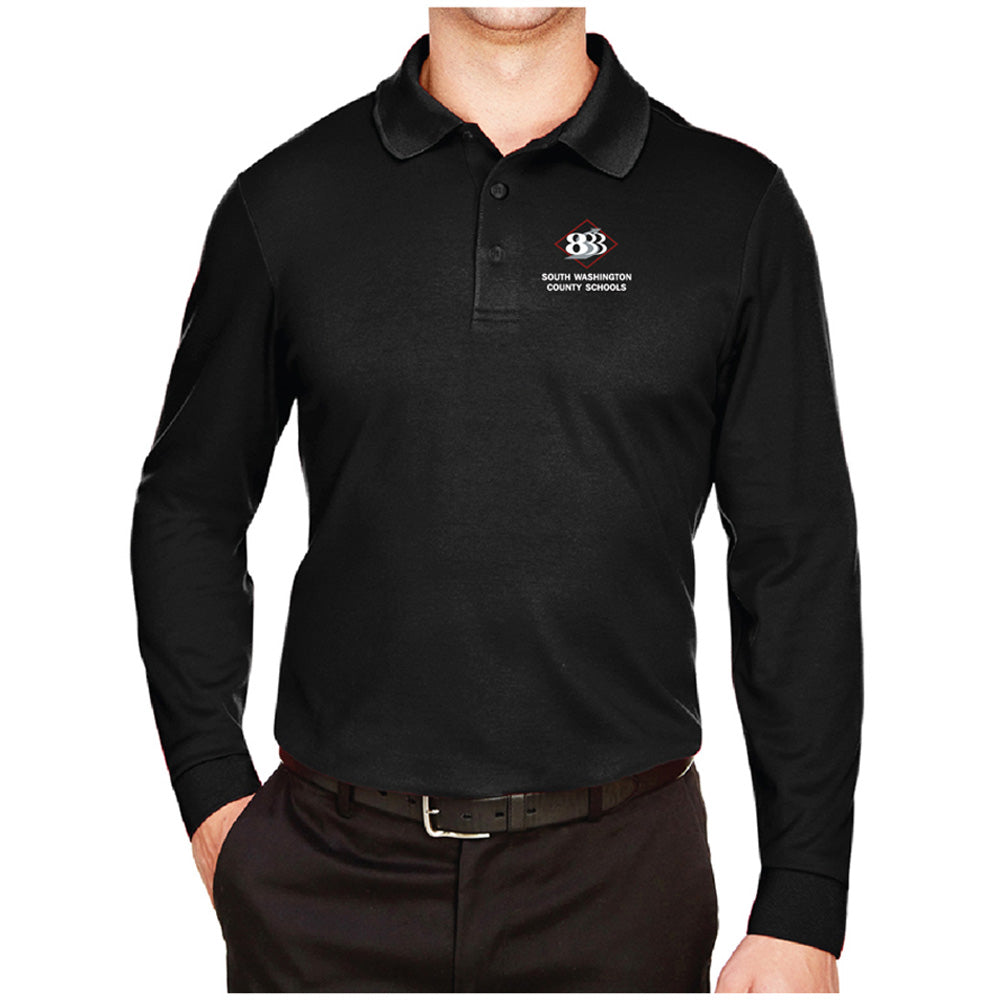 833 - Devon & Jones CrownLux Performance™ Men's Plaited Long Sleeve Polo-Long Sleeve-Advanced Sportswear
